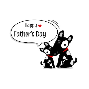 Carte de fête des pères heureuse avec des personnages mignons de chien.