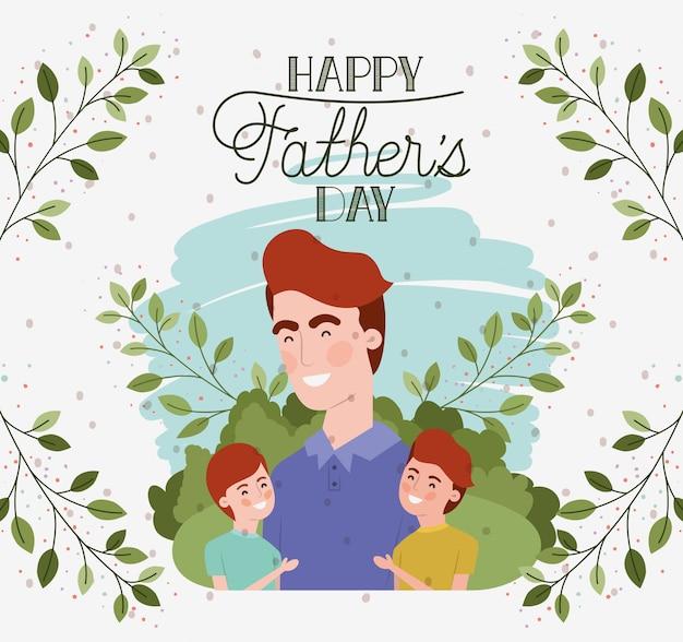 Carte de fête des pères heureuse avec personnages de papa et fils