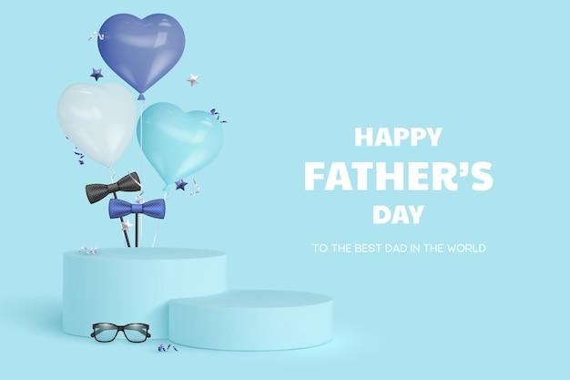 Carte de fête des pères heureuse avec podium avec lunettes, noeud papillon et ballons coeur.