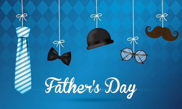 Carte de fête des pères heureux avec accessoires gentleman suspendus