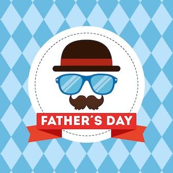 Carte de fête des pères heureux avec accessoires hipster
