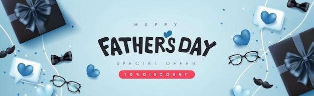Carte de fête des pères heureux avec boîte-cadeau sur bleu