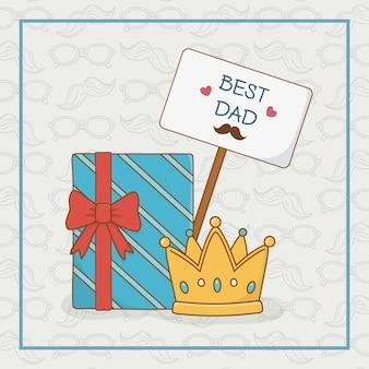 Carte de fête des pères heureux avec boîte-cadeau
