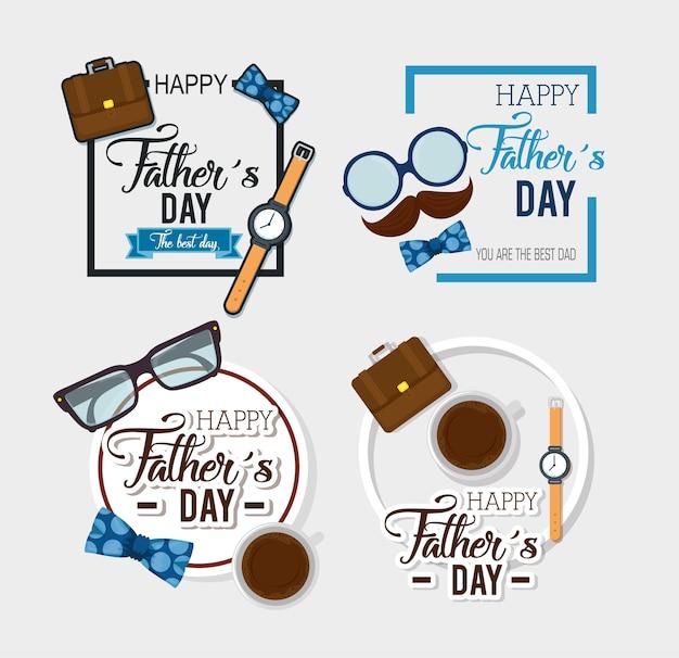 Carte de fête des pères heureux avec calligraphie et accessoire