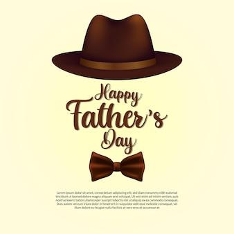 Carte de fête des pères heureux avec chapeau réaliste avec cravate et typographie