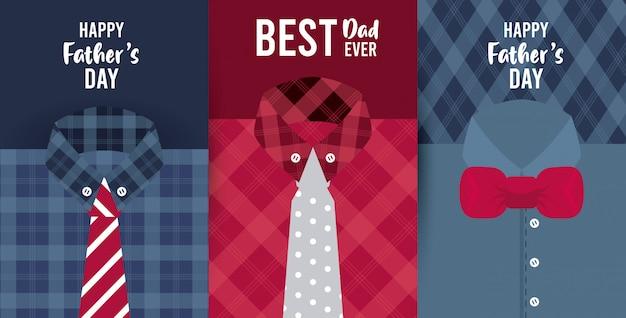 Carte de fête des pères heureux avec chemises masculines et cravates