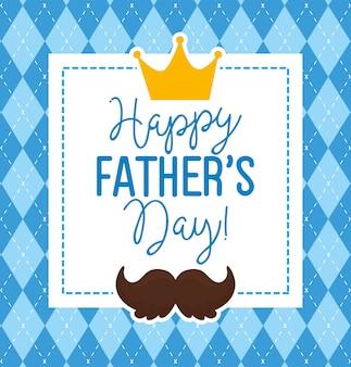 Carte de fête des pères heureux avec couronne royale et décoration de moustache