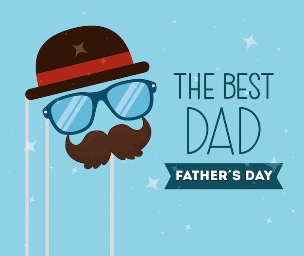 Carte de fête des pères heureux avec décoration d'accessoires hipster