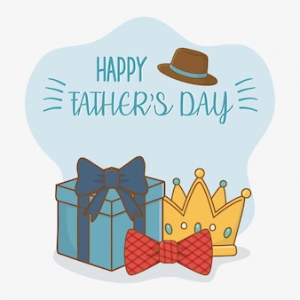 Carte de fête des pères heureux avec éléments définis