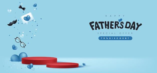 Carte de fête des pères heureux avec forme cylindrique d'affichage de produit