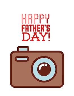 Carte de fête des pères heureux avec l'icône de l'appareil photo