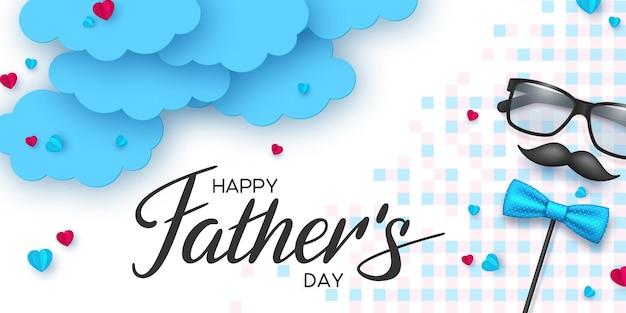 Carte de fête des pères heureux avec lunettes, moustache et nuages papercut