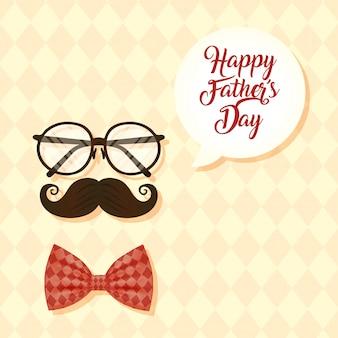 Carte de fête des pères heureux avec lunettes et moustache