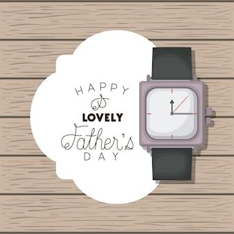 Carte de fête des pères heureux avec montre-bracelet