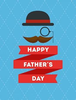 Carte de fête des pères heureux avec moustache et chapeau élégant
