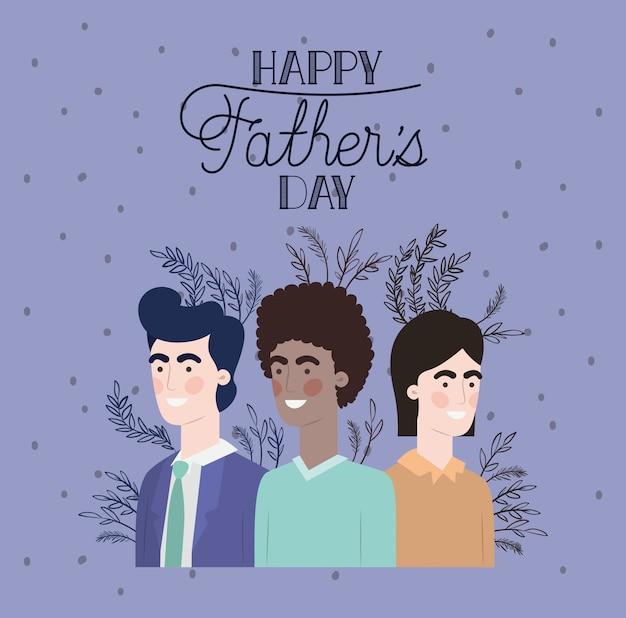 Carte de fête des pères heureux avec papas et feuilles de plantes