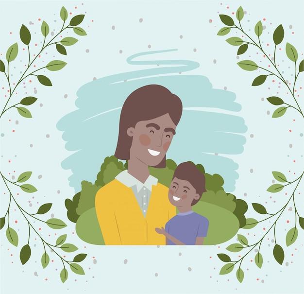 Carte de fête des pères heureux avec des personnages noirs de père et fils
