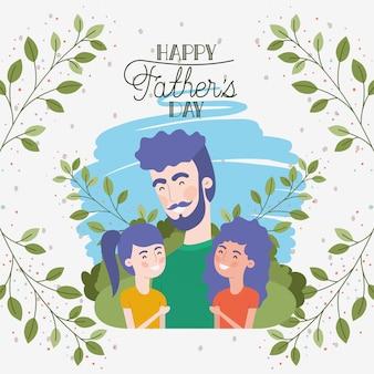 Carte de fête des pères heureux avec des personnages de papa et filles