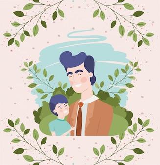 Carte de fête des pères heureux avec des personnages de papa et fils