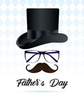Carte de fête des pères heureux avec tophat élégant et lunettes