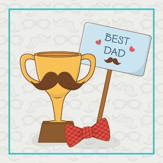Carte de fête des pères heureux avec trophée