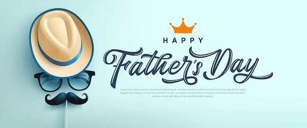 Carte de fête des pères avec le symbole du chapeau, des lunettes et de la moustache. salutations et cadeaux pour la fête des pères à plat