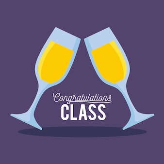 Carte de fête de remise des diplômes avec des coupes de champagne
