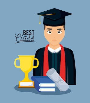 Carte de fête de remise des diplômes avec garçon gradué