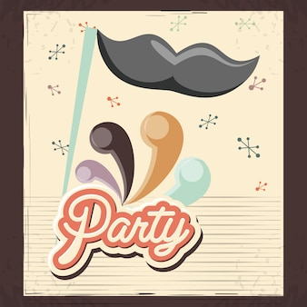 Carte de fête rétro avec accessoire de moustache