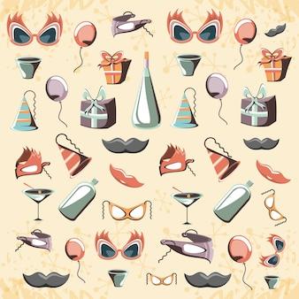 Carte de fête rétro avec accessoires