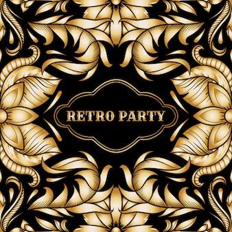 Carte de fête rétro, cadre art déco de style années 1920
