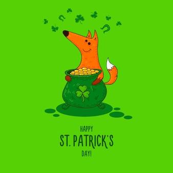 Carte de fête de la saint patrick avec des renards et des symboles irlandais