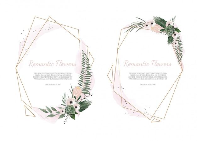 Carte avec feuilles de fleurs