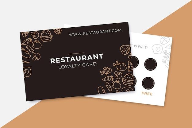 Carte de fidélité restaurant motif dessiné à la main