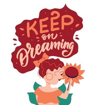 La carte avec une fille de dessin animé et une citation dessinée à la main la phrase de lettrage pour les conceptions de la journée des femmes