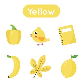 Carte flash d'apprentissage des couleurs pour les enfants d'âge préscolaire. couleur jaune. tous les objets de couleur jaune. feuille de calcul imprimable.
