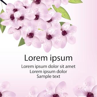 Carte avec fleur de cerisier ou sakura et texte.