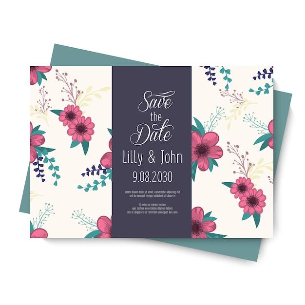 Carte de fleur de mariage