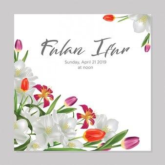 Carte de fleurs à l'aquarelle