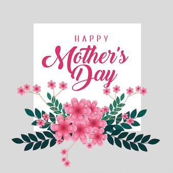 Carte avec des fleurs et des branches laisse à la fête des mères heureux