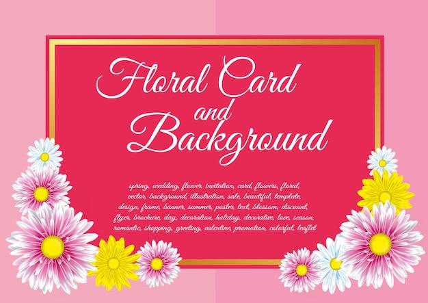 Carte avec des fleurs de chrysanthème.