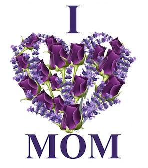 Carte de fleurs de coeur avec j'aime vecteur de texte de maman