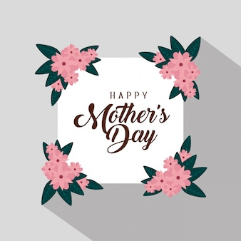 Carte avec des fleurs exotiques et des feuilles pour célébrer la fête des mères