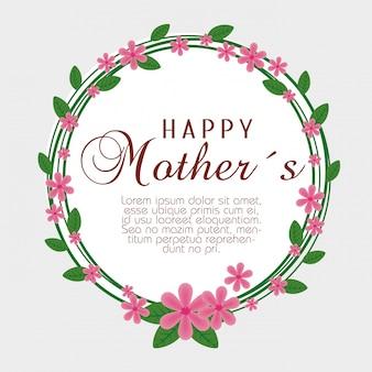 Carte avec des fleurs exotiques et des feuilles pour la fête des mères