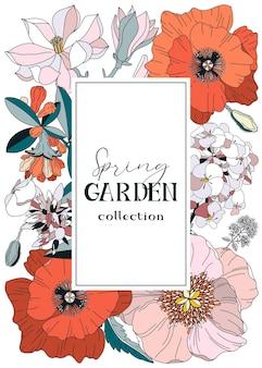 Carte avec des fleurs de printemps et d'été