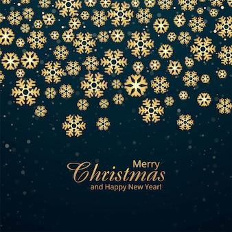 Carte de flocons de neige décoratifs joyeux noël et fond de bonne année