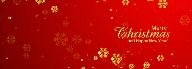 Carte de flocons de neige joyeux noël bannière rouge