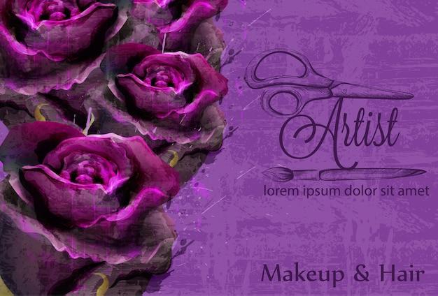 Carte floral de roses aquarelle