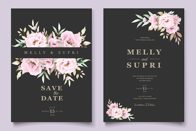 Carte florale aquarelle rose
