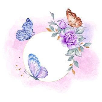 Carte florale de bonne saint-valentin avec des papillons colorés